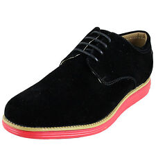 New teen youth big boy shoes black suede like synthetic lace up casual formal