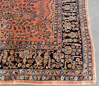 Rare ANTIQUE Perslan Rug LILIHAN SAROUK 10.1x14 Hand Vegetable Dyed Wool 1910 ☆