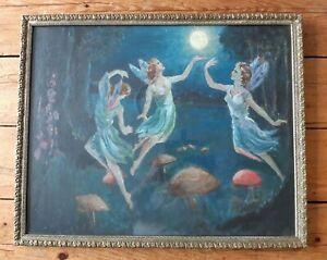 Antique Original Framed Oil Painting - Fairies In Moonlight