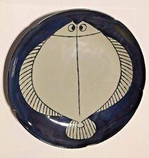 UNIQUE SIGNED ORIENTAL ASIAN CERAMIC FOLK ART POTTERY FISH FLOUNDER PLATE TRAY!!