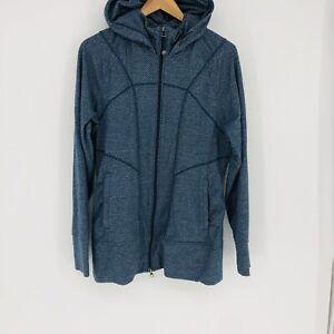 Athleta Rishi Full Zip Hooded Track Jacket Blue Gray Size XL Active Stretch Hood