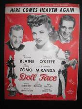 Here Comes Heaven Again Sheet Music Vintage 1945 Doll Face Jimmy McHugh Nice (O)