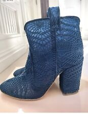 Laurence Dacade Pete Mesh Macrame Navy Blue Boots 37.5