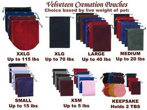 Pet Loss Velvet Cremation Pouch - Many Sizes and Colors To Choose From