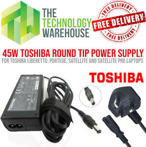 Genuine Toshiba 45w Charger PSU - Round Tip 6.3mm*3mm - 15V 3A + Power Cable