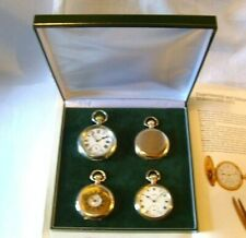 Pocket Watch Box Antique Style Green And Gold 4 Recessed Velvet Display Bases