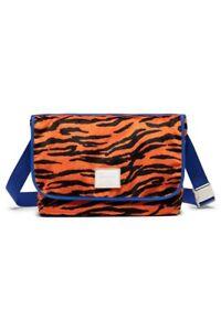 Herschel Supply Co Grade Messenger bag Fuzzy tiger stripe NWT orange blue