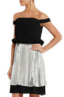 Topshop by Unique Runway Metallic Pleated Dress UK 6 8 10 12 14 16 Party