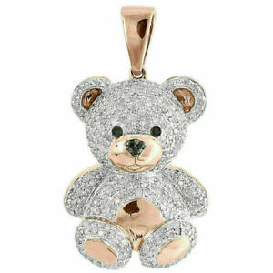 2.00 Ct Round Cut Diamond Teddy Bear Pendant 14k Rose Gold Over Valentine Gift