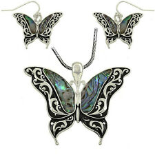 Butterfly Abalone Shell Pendant Necklace and Earrings Set With Chain