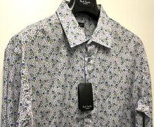 Camicie classiche da uomo polsino singolo in cotone blu