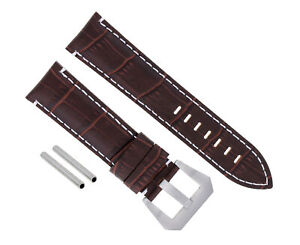 24MM LEATHER WATCH BAND STRAP FOR PAM 44MM PANERAI MARINA LUMINOR GMT BROWN WS