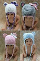 Knit Crochet Newborn Infant Baby Child Kids Teddy Bear Hat Cap Baby Shower Gift