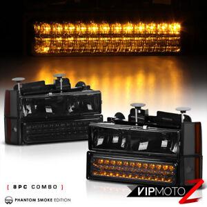 Smoke Headlight Left+Right+LED Bumper Lamp 4PC Assembly 88-93 Chevy C2500 Pickup