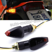2X UNIVERSAL MOTORCYCLE 12V LED BLINKER TURN SIGNAL AMBER INDICATORS LIGHT BLACK