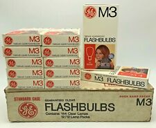 New Vintage GE M3 FlashBulbs 1 Case 144 Clear Lamps 12/12 Lamp Packs