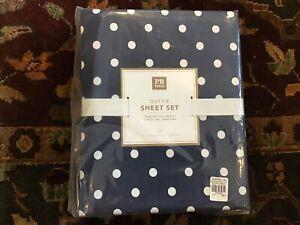 Pottery Barn Teen DOTTIE Sheet Set  FULL. Navy Blue