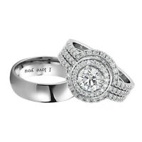 Lovely Couple Ring Set - Titanium and 925 Sterling Silver 3 Piece Halo Bridal CZ
