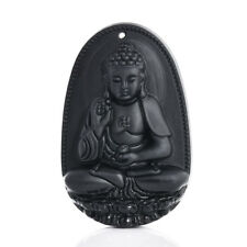 Natural Obsidian Carved Amitabha Buddha Amulet Necklace Pendant for Love Friends