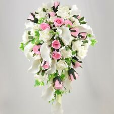 Artificial Wedding Flowers Silk Brides Shower Bouquet Baby Pink Ivory Calla Lily