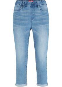 Damen Gummizug Jeans Capri blau Bermuda Stretch Denim Hose 36 38 40 42 44 46 308