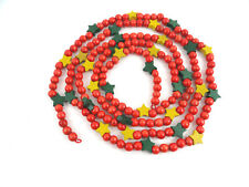 Wood Green Yellow Stars Red Cranberries Beads Christmas Tree Garland 9'