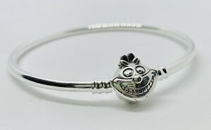 CHESHIRE CAT BANGLE Charm Bracelet & Pouch - Silver S925 - Alice in Wonderland