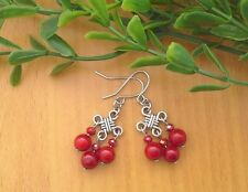 Red CORAL Gemstone beads On Chinese Lucky Knot, Drop Dangle Earrings ~ Feng Shui