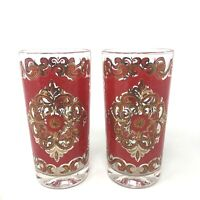 VTG Starlyte Red Gold Drinking Highball Glasses 1950s Mid Century Medallion - 2