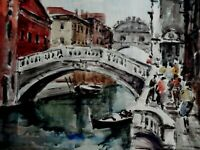 ORIGINAL WATERCOLOR PAINTING OF VENICE ARTIST SIGNED
