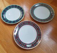 "Williams-Sonoma WSO1 Tartan Plaid 9"" Luncheon Plates Set of 3"