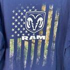 Dodge Ram Mens 2XL  Blue Tshirt Ram Logo and Camo Flag on Back Vintage XXL
