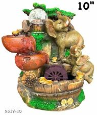 """Elephants Water Fountain Led Light Indoor/Outdoor Water Pump Included 10"""" Inch"""