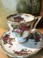 ANTIQUE VICTORIAN Tea Cup & Saucer gold Trim Roses Inside & Out DEMITASSE