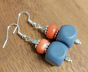 Coral & Purple/Grey Bead Silver Tone Drop Earrings - *NEW*