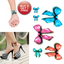 SMALL 3D BOWS TEMPORARY TATTOO, SET OF 6, ANKLE, WRIST, WOMENS, GIRLS, KIDS