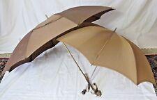 Vintage Retro Garfinckels Nyltest Brown Umbrellas Parasols Set of 2