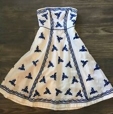 Anthropologie White & Blue Embroidered Dress 2