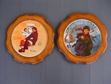"Vintage 2 BARD'S  Collector Plate Wood Frames USA 11 1/4"" WITH N.ROCKWELL,PLATES"