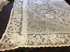 "Antique Lace Bedspread/Cover/Curtain /canopee/pelmet ,110"" X 77,white cotton"