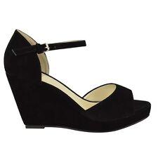 Sandalen Damen Mittelhoch Keilabsatz Offen Zehenfrei Plateau Schuhe Größe