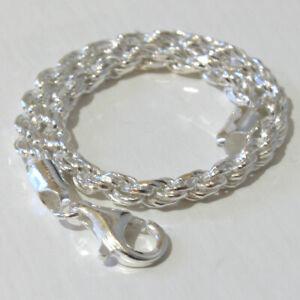 4mm Italian Sterling Silver Diamond Cut Rope Bracelet - 7.5 inch