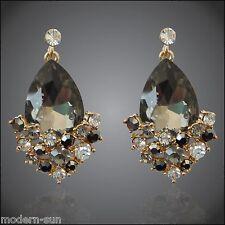 18K GP Rhinestone Crystal Pear-shaped Gray Zircon Ear-Nail Earrings E1699