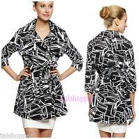 NEW Vertigo Paris GRAPHIC ARTSY Cloth Dress Mod Trench Coat Jacket NWT $230 L 12