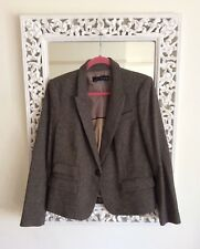 Zara Woman Beige Brown Tweed Check Jacket Elbow Patches, Size L 10-12