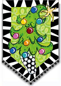 Garden Flag, Christmas, Tom Tom Tree, Embellished