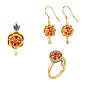 Six Word Proverbs Om Mani Padme Hum Cloisonne Enamel S925 Pendant Ring Earring