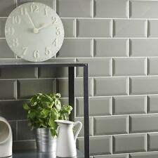 Gloss sage metro bevelled edge ceramic wall tiles 10 x 20cm 1m² - 50 tiles