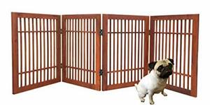 Pet Dog gate Strong and Durable 4 Panel Solid Acacia Hardwood Folding Fence