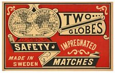 Antique, Unused Two Globes Impregnated Safety Match Label